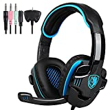 Docooler SADES SA-708GT 3.5mm Gaming Headphone Mic Noise Cancellation Music Headset Black-blue Upgraded