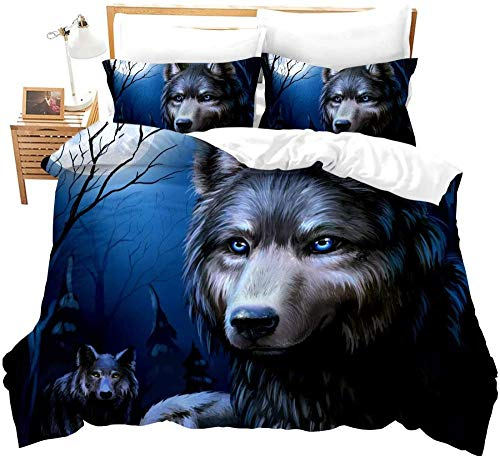 XADITON Trendy 3D Duvet Cover Set King Size Motifs Design 260 Cm x 230 Cm Minimalist wolf animal tree plant moon 3 pieces Sets Ultra Soft Hypoallergenic Boy girl Cotton Quilt Cover Easy care