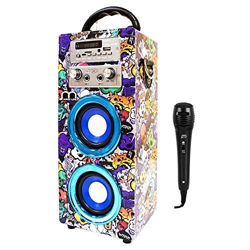 Music Life Altavoz Karaoke Bluetooth Portátil con Micrófono Inlámbrico USB Tarjeta...