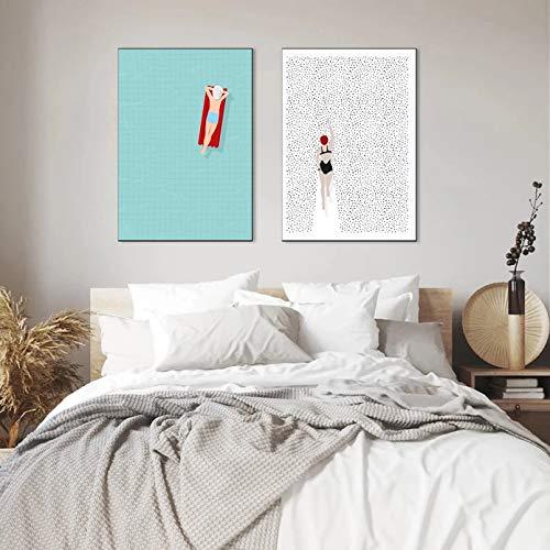 Impresión en Lienzo HD Mural Art Poster Póster nórdico Abstracto Swim Air Colchón Lienzo Pintura Arte de la Pared Imágenes para la Sala de Estar Impresiones Decorativas en la Pared