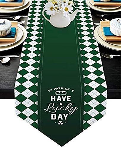 VJRQM Foulards de Commode de Chemin de Table en Toile de Jute pour dîner en Famille,Table de Cuisine,St. Patrick's Have A Lucky Day Gradient Green Shamrock Plaid,13x70 Pouces