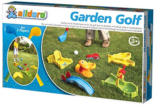 alldoro 60066 - Garten Golf Set, Gartengolf mit 11 Teilen, Kindergolf mit 6 Hindernissen, 2 XXL Schläger und 3 Golfbällen, Minigolf für Drinnen & Draußen, Golfset aus Kunststoff für Kinder ab 3 Jahren