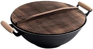 Wok, Pots De Cuisson Poêles Friteuse Wok En Fonte Avec Couvercle En Bois , Poêle À Frire Saine Non Enduite Wok Épaissir Po...