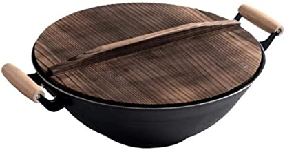 Cooking Pots Pans Fryer Cast Iron Wok With Wooden Lid,uncoated Healthy Fry Pan Wok Thicken Gas Stoves Two Handle Non-Stick...