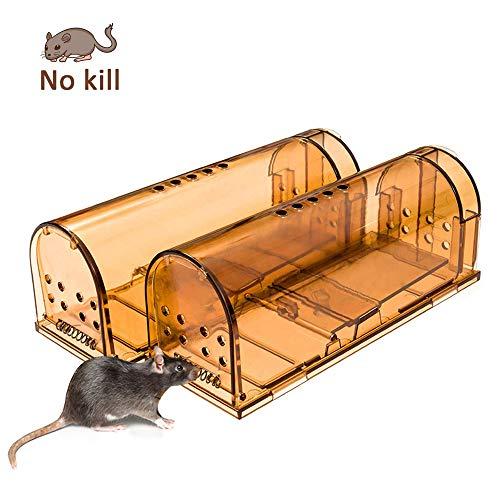 Preisvergleich Produktbild PECHTY Mausefalle lebend,  2er Set Lebendfallen,  Tierfreundliche Mäusefalle Rattenfalle für Küche,  Haus,  Garten Umweltbewusst Kastenfalle Mäuse fangen, transparent mit Luftlöcher