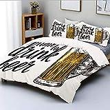 Juego de funda nórdica, Cita de tiempo para beber cerveza con la mano del hombre sosteniendo la taza Tostada Ilustración Juego de cama decorativo de 3 piezas con 2 fundas de almohada, amarillo negro,