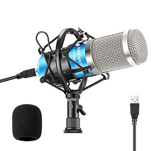 Neewer USB Mikrofon 192kHz 24Bit Plug Play Computer Nierencharakteristik Kondensatormikrofon mit professionellem Sound Chipsatz für PC Karaoke Livestreaming YouTube Tonaufnahme(NW-8000-USB)