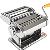 Stands Máquina para Hacer Pasta con manivela, máquina para Pasta de Acero Inoxidable, Rodillo y Cortador de Pasta 2 en 1 para Espaguetis caseros, linguini, Regalos para mamá, día de la Madre