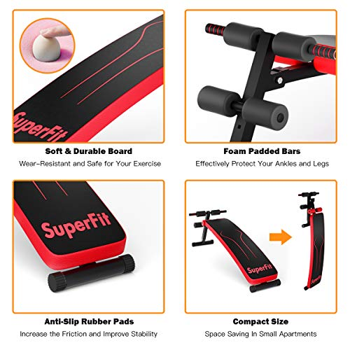 GYMAX Adjustable Sit up Bench, Foldable Abdominal Training Slant Bench, Curved Decline Sip up Bench for Strength Training Workout (Red)