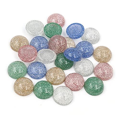 JSJJATQ Piedras de Lava 40 unids/Lote 12 mm Mezcla Colores incorporados Metal Transparente Lindo Resina Plana Resina cabujón para Pendientes de Pulsera Accesorios de joyería de Bricolaje
