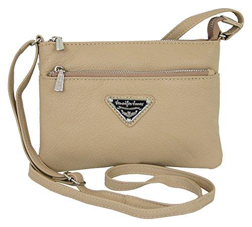 Jennifer Jones kleine leren dames handtas beige crossover schoudertas kleine schoudertas voor vrouwen crossbody avondtas (6222)