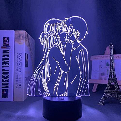 3D Luz nocturna para niños lámpara para habitación infantil Sword Art Online Anime Japonés Manga Gadget decoración de dormitorio regalo lámpara de noche creativa regalo Cambio de color colorido,