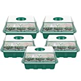 5 Pcs Bandejas de Semilleros Caja de Plántulas de 12 Agujeros 18*14*5CM Cubierta Transpirable Ajustable Bandeja de Plántulas Bandeja de Germinación de Semillas para Uso en Tiendas en el Hogar (Verde)