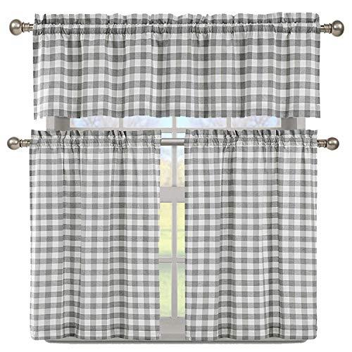 Duck River Textile Buffalo Plaid Gingham Checkered Premium Cotton Blend Kitchen Curtain Tier & Valance Set, Grey & White