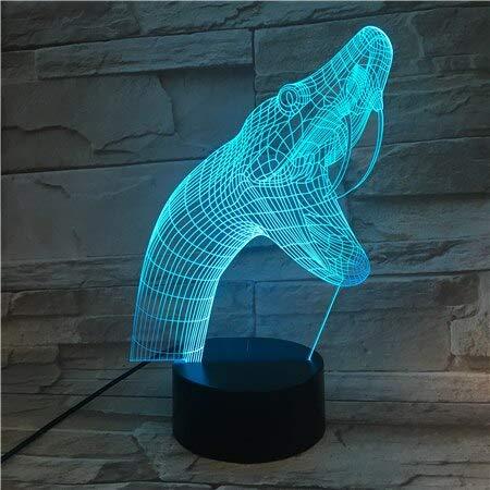 Colorido tridimensional forma de serpiente 3D lámpara de mesa de acrílico USB lámpara de dormir decoración niños | Regalo de colección de lámpara de mesa
