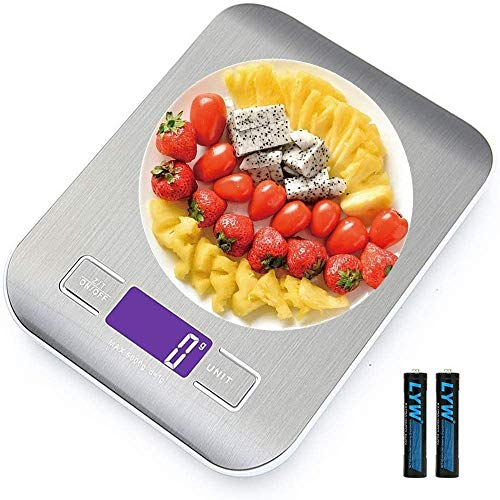 Bilancia da Cucina Smart Digitale con Funzione Tare,5kg/11 lbs Acciaio Inox Bilancia Elettronica per la Casa e la Cucina con 5 Measuring Units e Precisione 1g,Bianca,(2 Batteries Incluse)