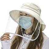 Comhats Sombrero de protección facial multifuncional para mujer, plegable, visera extraíble, color beige