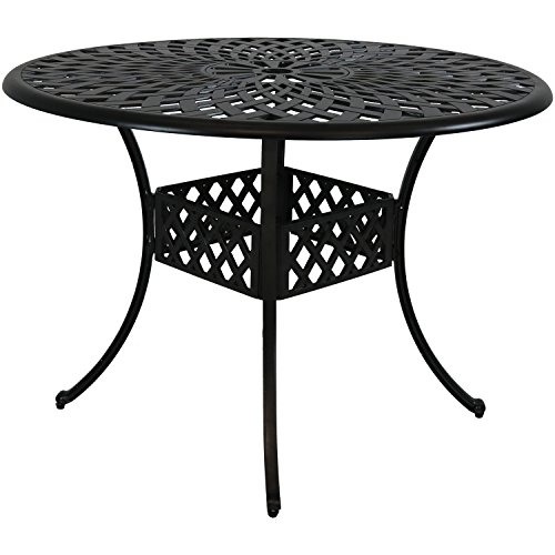 Sunnydaze Round Patio Dining Table - Outdoor Durable Cast Aluminum Construction - Decorative Crossweave Design - Outside Patio Furniture with Umbrella Hole - - Perfect for Porch or Poolside - 41-Inch