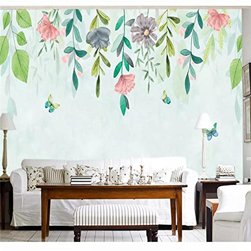 Custom 3d wallpaper hand-painted flower vine flower simple fashion background wall painting high-grade waterproof material