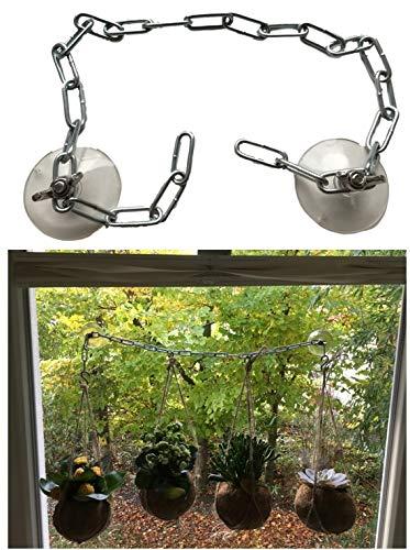 Zuignap houder set voor ramen en balkondeuren/glazen houdersysteem - zonder te boren voor bloempot hangpot kas borden/ophanghaak - bijna zelfklevend met inhangketting 80cm