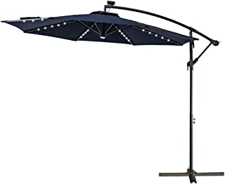C-Hopetree 10' LED Lighted Outdoor Offset Hanging Cantilever Umbrella with Solar Lights for Large Patio Terrace Deck or Balcony, Navy Blue