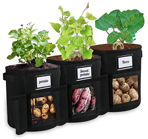 3 Stück Kartoffel pflanzbeutel - Pflanztasche Pflanze Wachsende Tasche, 6pcs Pflanzenetikett, 7 Gallons Grow Bag Garten Übertopf Vliesstoff Pflanzsack mit Tab Fenster für Kartoffeln, Tomaten (Schwarz)