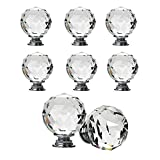 Pomelli sferici in cristallo per cassetti e armadi, 8 pezzi, Cristallo, Transparent, 20 mm...