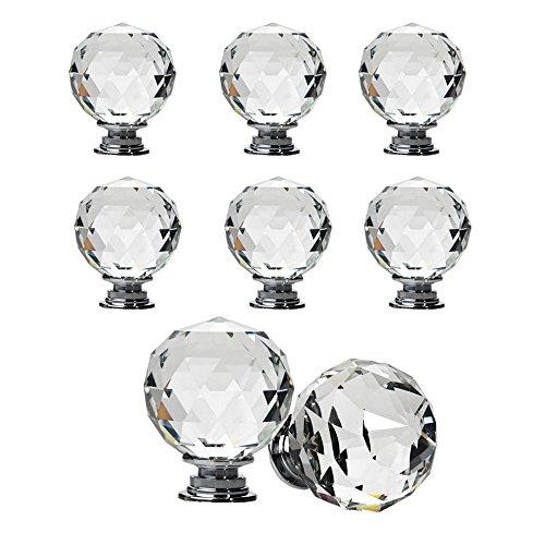 8 pomos esféricos de cristal para cajones, cristal, transparente, 40 mm.