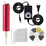 HSJL Resin Drill Set- Adjustable Speed - Pin Vise Electric Mini Drill with 13 PCS Twist Drills Bits (0.8-1.2mm) and 6 Colors Screw Eye Pins- for Resin,Plastic,Wood,DIY Jewelry,Key Chain Making (Red)