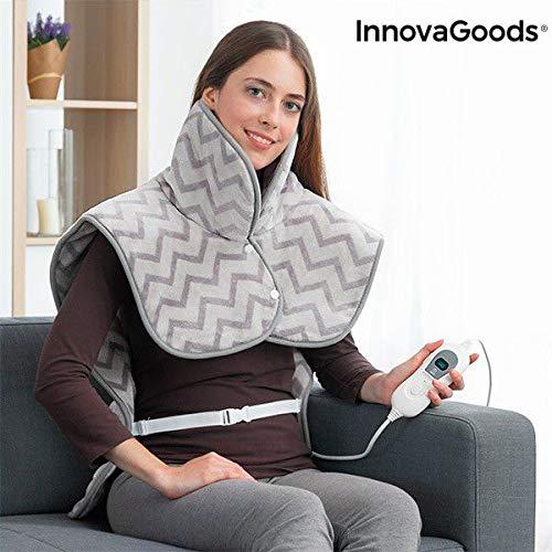 InnovaGoods IG813574 - Almohadilla Eléctrica para Cuello, Hombros y Espalda, 60 x 90 cm, 100W, Gris