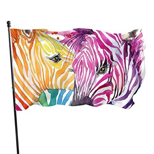 Bandera de jardín, diseño de cebra arco iris, color vivo y resistente a los rayos UV, doble costura para patio, bandera de temporada, banderas de pared de 3 x 5 pies