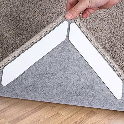 Rug Tape,16 pcs Double Sided Washable Removable Rug Stopper Grip Your Rug, Non Slip Adhesive Anti Curling Corner Carpet Grip for Hardwood Floors and Tile (Pearl White)