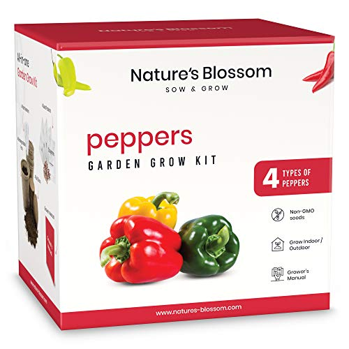 Nature's Blossom Peppers Garden Kit. A Complete Indoor Seed Starter Set with Pepper Seeds and Gardening Supplies. Garden Gift Idea for Kids and Adults.