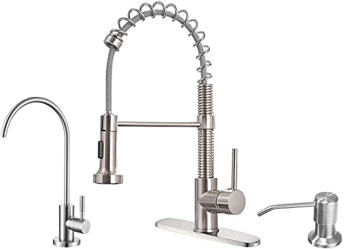 new arrival OWOFAN 2021 Brushed Kitchen Faucet Including Stainlees Steel sale Drinking Water Faucet, and Copper Soap Dispenser online