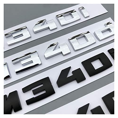 XINGFUQY Carta Número Emblema Ajuste para BMW M M1 M2 M3 M4 M5 M6 M7 M8 x4m x5m x6m M540i M135i M335i M240i M550D M750LI Pegatina de Insignia del Tronco del Coche