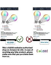 مصباح إضاءة ليد واي فاي RGBCW من ELEAD Smart WiFi 10 واط 100 واط متوافق مع أليكسا جوجل هوم إضاءة إضاءة متغيرة الألوان E27 ضوء متعدد الألوان تطبيق زخرفي مصباح ملون للتحكم عن بعد (10 وات 2 عبوة)