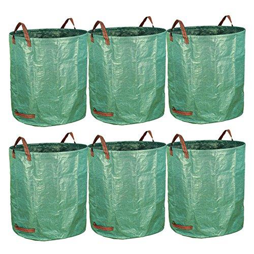 Gardzen 6-Pack 72 Gallon Bags - Reuseable Heavy Duty Gardening Bags, Lawn Pool Garden Leaf Waste Bag