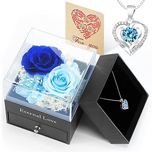 ATLYEROZ 2 Packs Eternal Rose Gift with Eternal Love Necklace,Handmade...