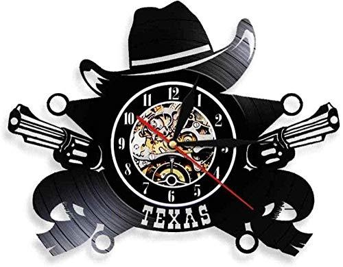 SSCLOCK Reloj de Pared de Vinilo, Reloj de Registro para Amantes, Hombres, Mujeres, Adolescentes, niños, Mural, Obra de Arte, Reloj Negro, Pistola de Sombrero de Vaquero