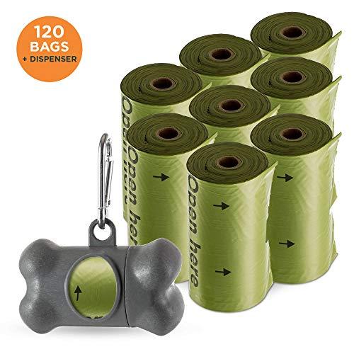 Hundekotbeutel und Spender von Simply Natural - 120 Stück Kotbeutel - 100% extra dicke, biologisch abbaubare Hundebeutel inkl. Hundekotbeutel-Spender und Clip für 120 Hundekotbeutel