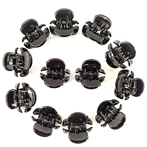 Zayin Lot de 12 mini pinces à cheveux en forme de papillon, colorées, antidérapantes, convient pour les cheveux fins, raides, pour enfants, garçons, filles, adultes (noir)