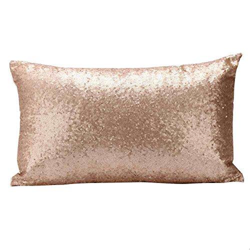 LEEDY - Funda de cojín con lentejuelas para sofá