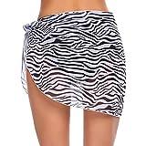 Envolturas de playa para mujer con estampado de flores de pareo para la playa, falda de gasa de bikini transparente