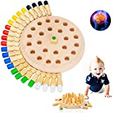 Wooden Memory Match Stick Chess Game, Color Cognitive Ability Puzzle Match Stick Memory Block Board Game ,Parent-Child Interaction Toys, Early Educational Toy for Boys and Girls Age 3 and Up