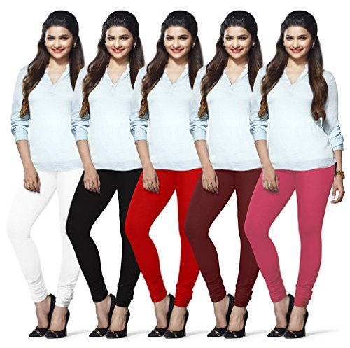 LUX LYRA Women's Cotton Indian Churidar Leggings (Multicolour, Free Size) - Pack of 5