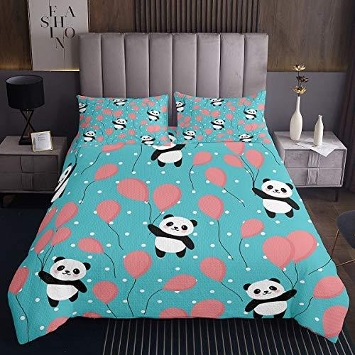 Panda Tagesdecke 220x240cm Niedliches Tier Muster Steppdecke für Kinder Karikatur Riese Panda Bettüberwurf Ball Tupfen Mit 2 Kissenbezug 3St