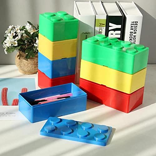 Creative DIY Legoings Caja de almacenamiento Caja de ahorro de espacio Casa de oficina Organizador de escritorio Caja de almacenamiento combinada Contenedor de plástico L 16 x 5,5 x 5,5 cm, Azul