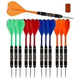 SHOT TAKER CO. EST. 2017 Steel Tip Darts Set |12 pc Bar Darts; 3 of Each Color; Perfect Fun Darts for 4 Players Throwing Metal Tip On Dartboard in Family Game Room, Man Cave (10435)