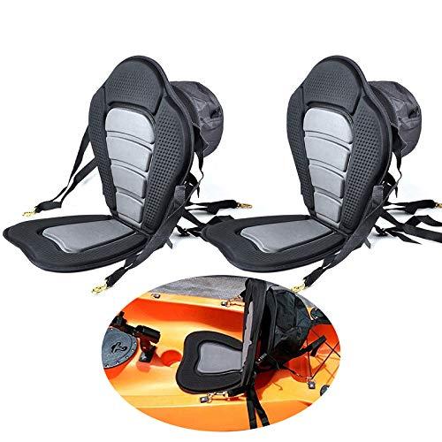 Welugnal Kayak Backrest Boating Seat,Luxury Adjustable Padded Kayak Seat Back with Detachable Canoe Backrest Seat Bag(2 Pack)