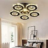 Lámpara de Techo LED, Luz de Cristal Anillo Moderno, Cuerpo Acero Inoxidable...